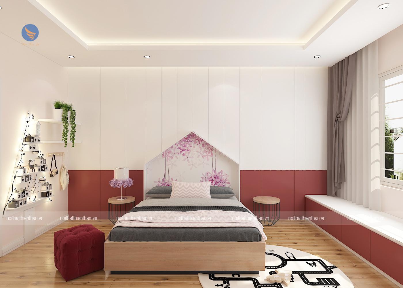 phòng ngủ đẹp màu hồng