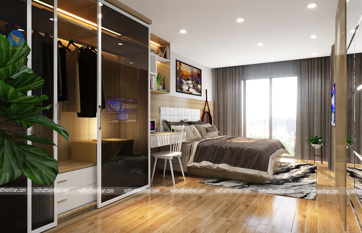 phòng ngủ master trong căn hộ chung cư