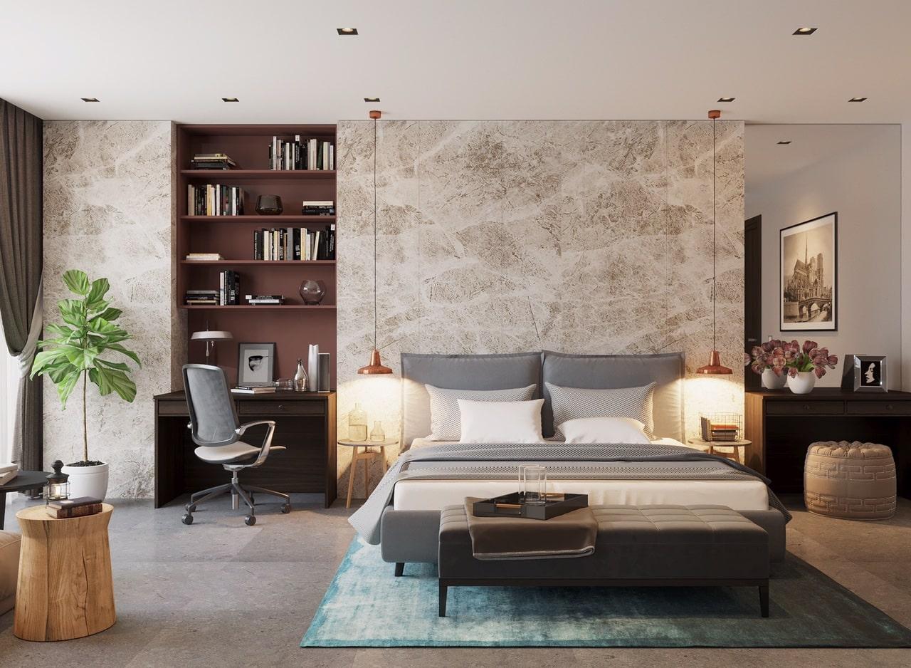 thiết kế phòng ngủ và làm việc đơn giản