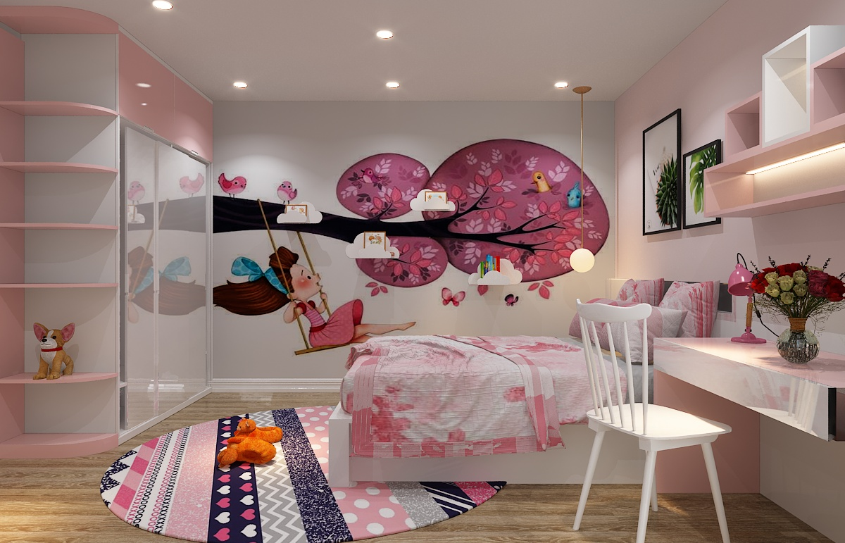 phòng ngủ đẹp cho nữ màu hồng