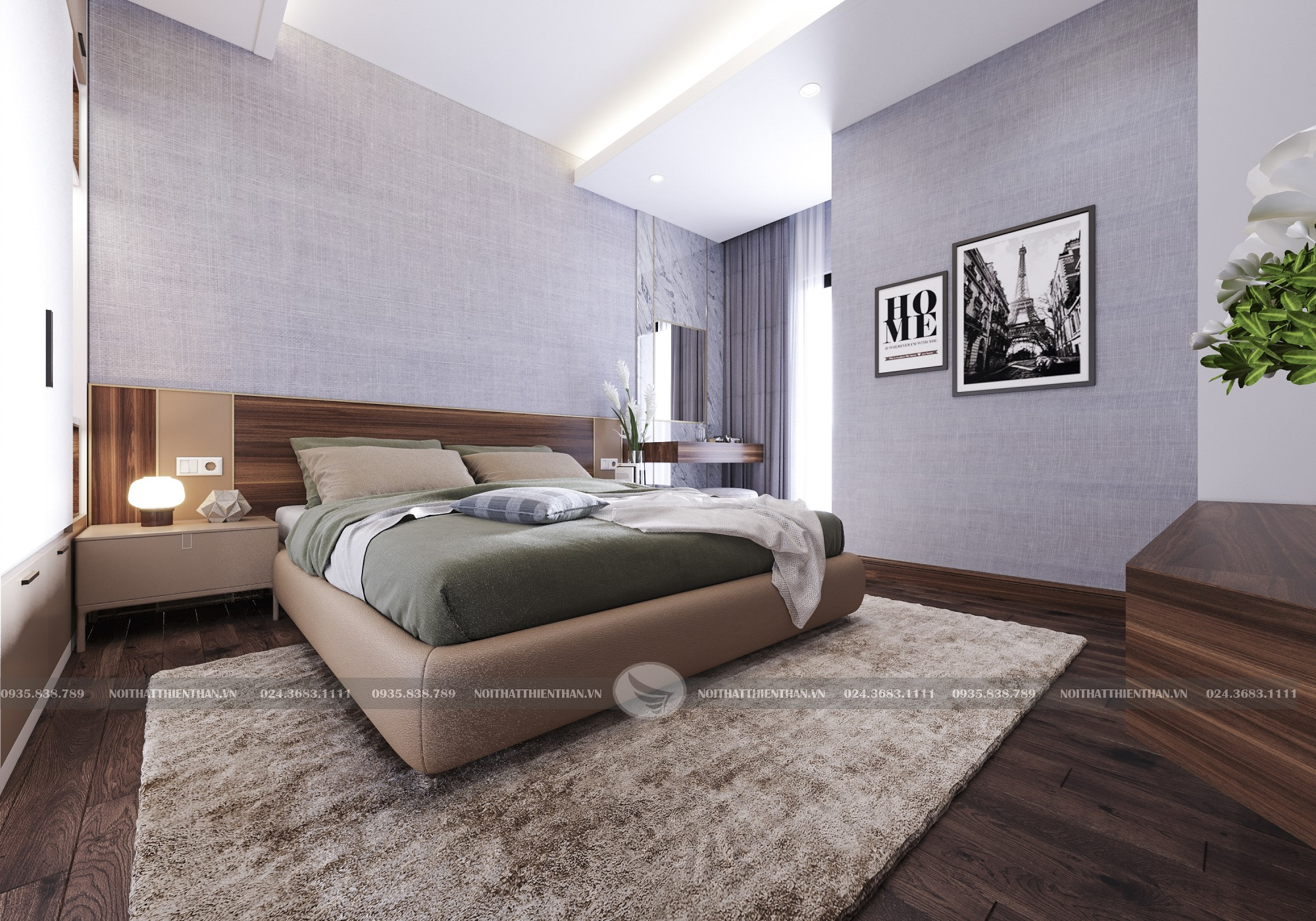nội thất nhà phố hiện đại phòng ngủ master