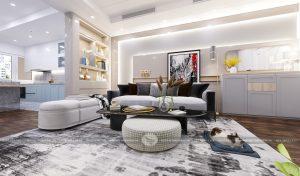 Phòng khách lấy gam màu trắng làm chủ đạo kết hợp cùng ánh sáng vàng của đèn chùm tạo nên không gian nội thất ấm áp