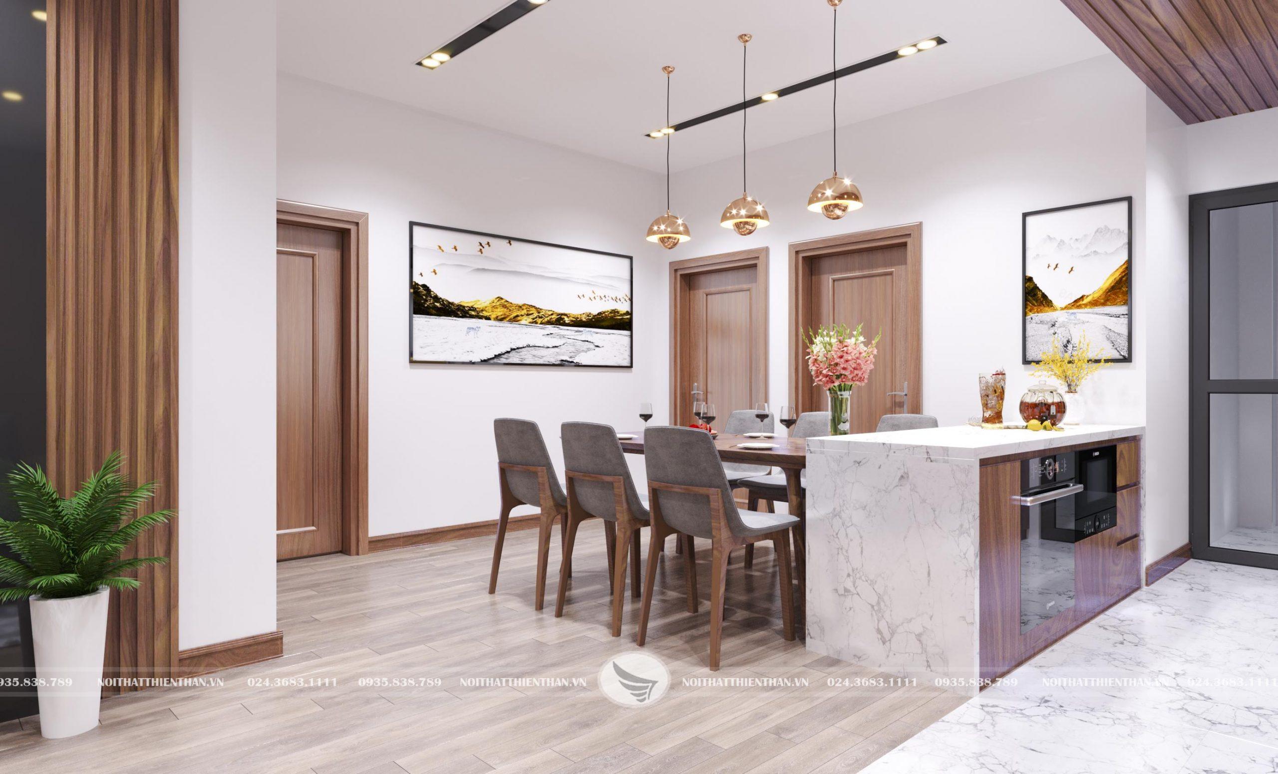 thiết kế phòng khách liền bếp đẹp