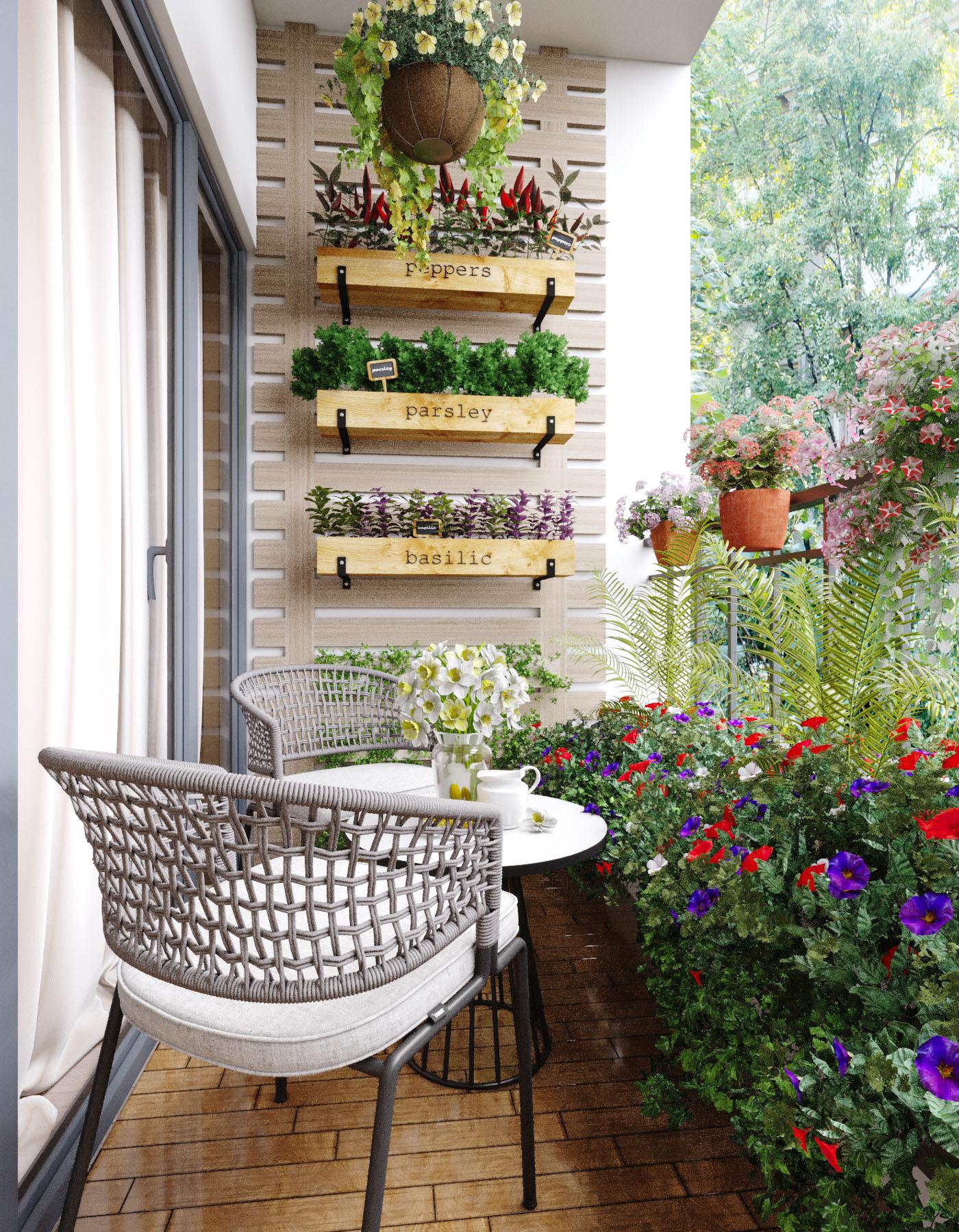 thiết kế căn hộ chung cư cao cấp có ban công xanh