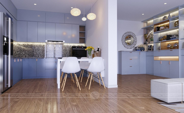 nội thất phòng bếp hiện đại có bàn ghế phòng ăn
