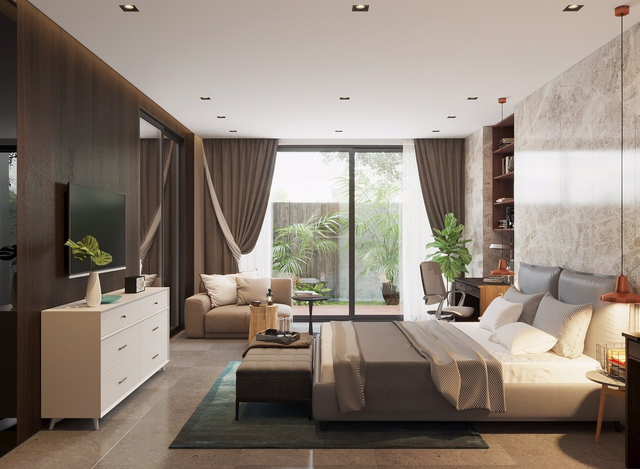 Phòng ngủ master có những đặc điểm riêng về nội thất.