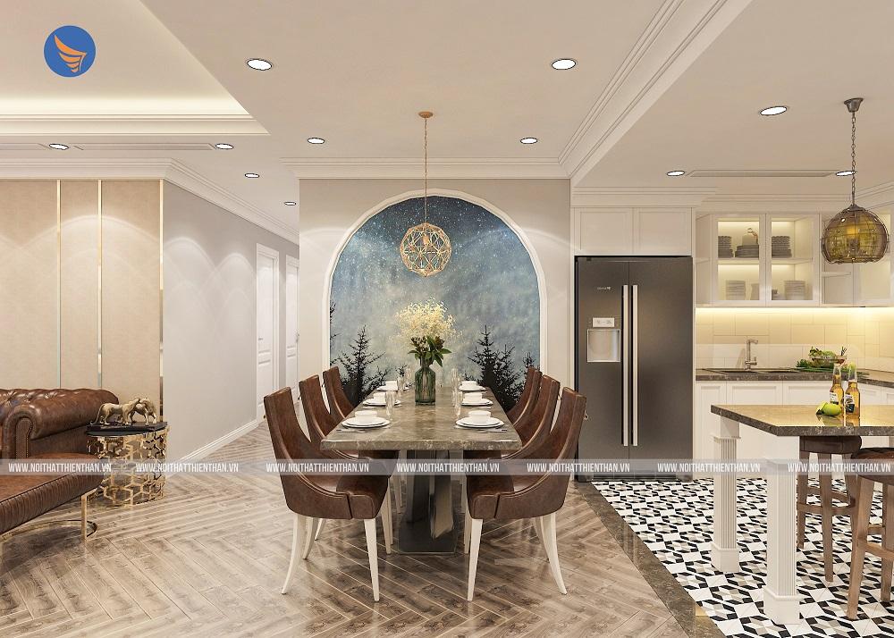 thiết kế phòng ăn có bộ bàn ghế màu nâu cực sang