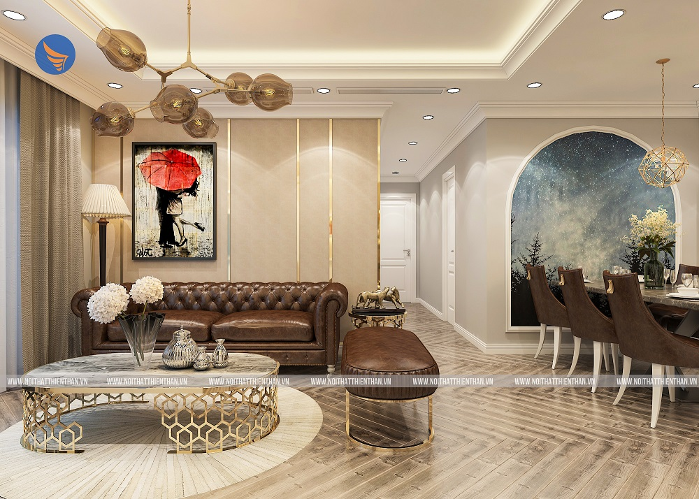 thiết kế chung cư đẹp phòng khách liền bếp
