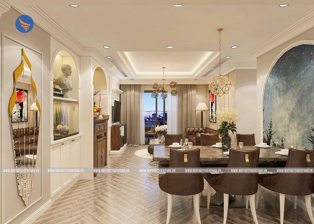nội thất chung cư đẹp phòng khách liền bếp