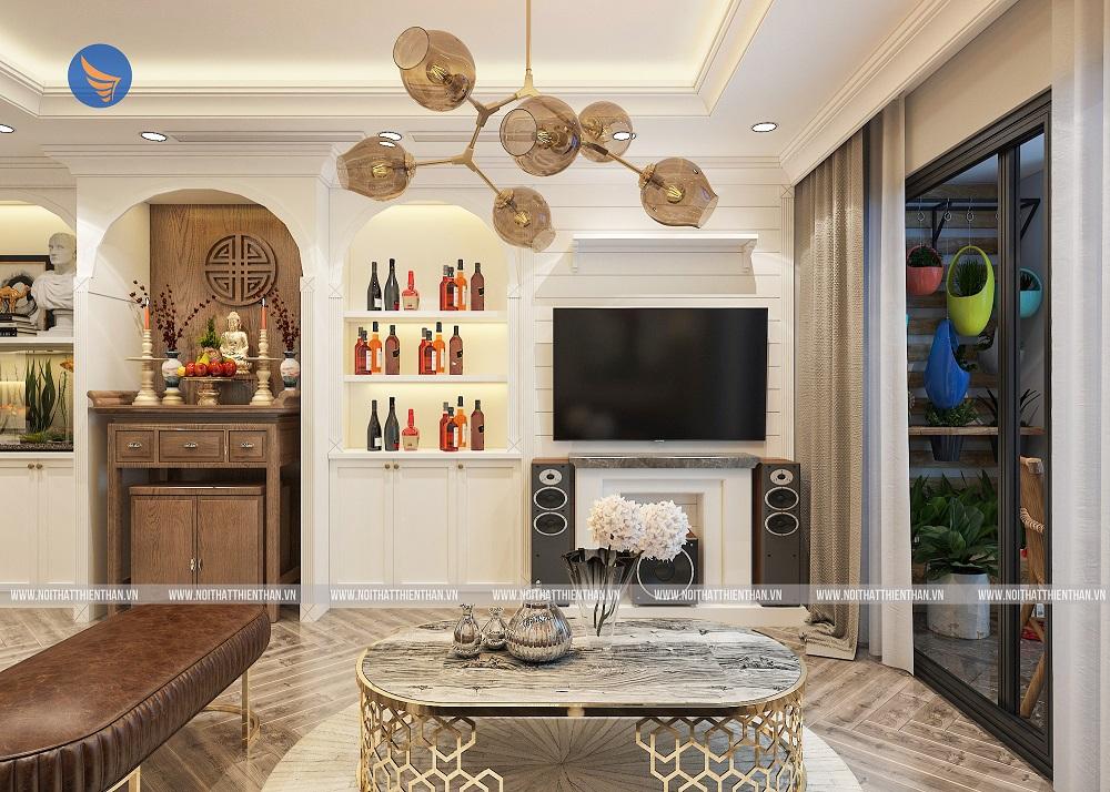 thiết kế nội thất chung cư đẹp phòng khách sang trọng