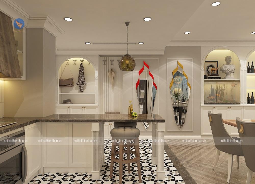 khu vực bàn bar bếp trong mẫu thiết kế chung cư