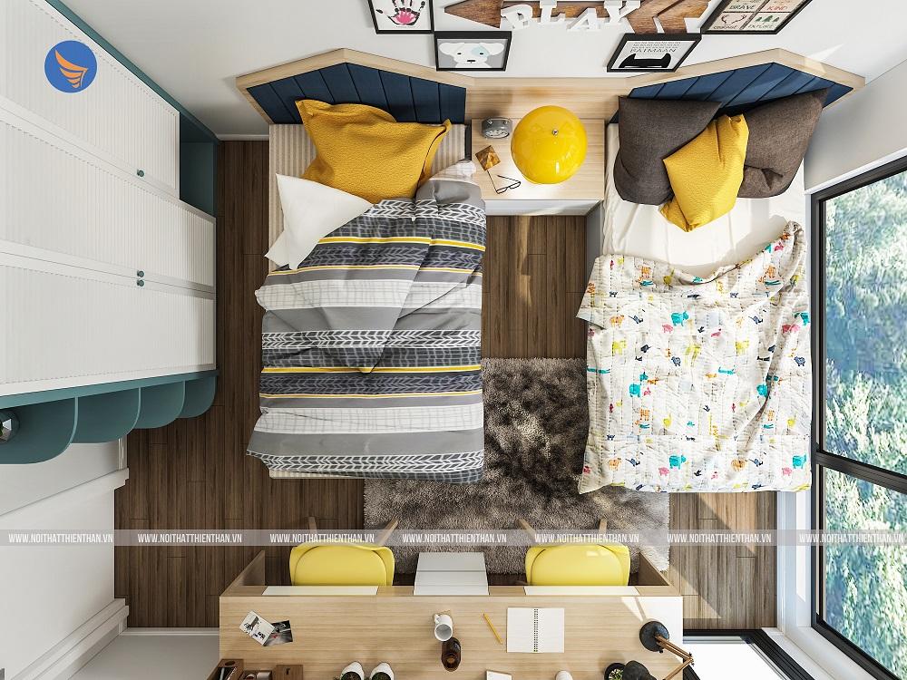 thiết kế nội thất căn hộ chung cư phòng ngủ trẻ em