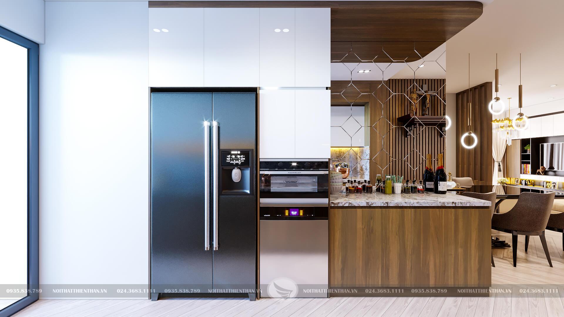 trang trí phòng bếp nhỏ đẹp chung cư