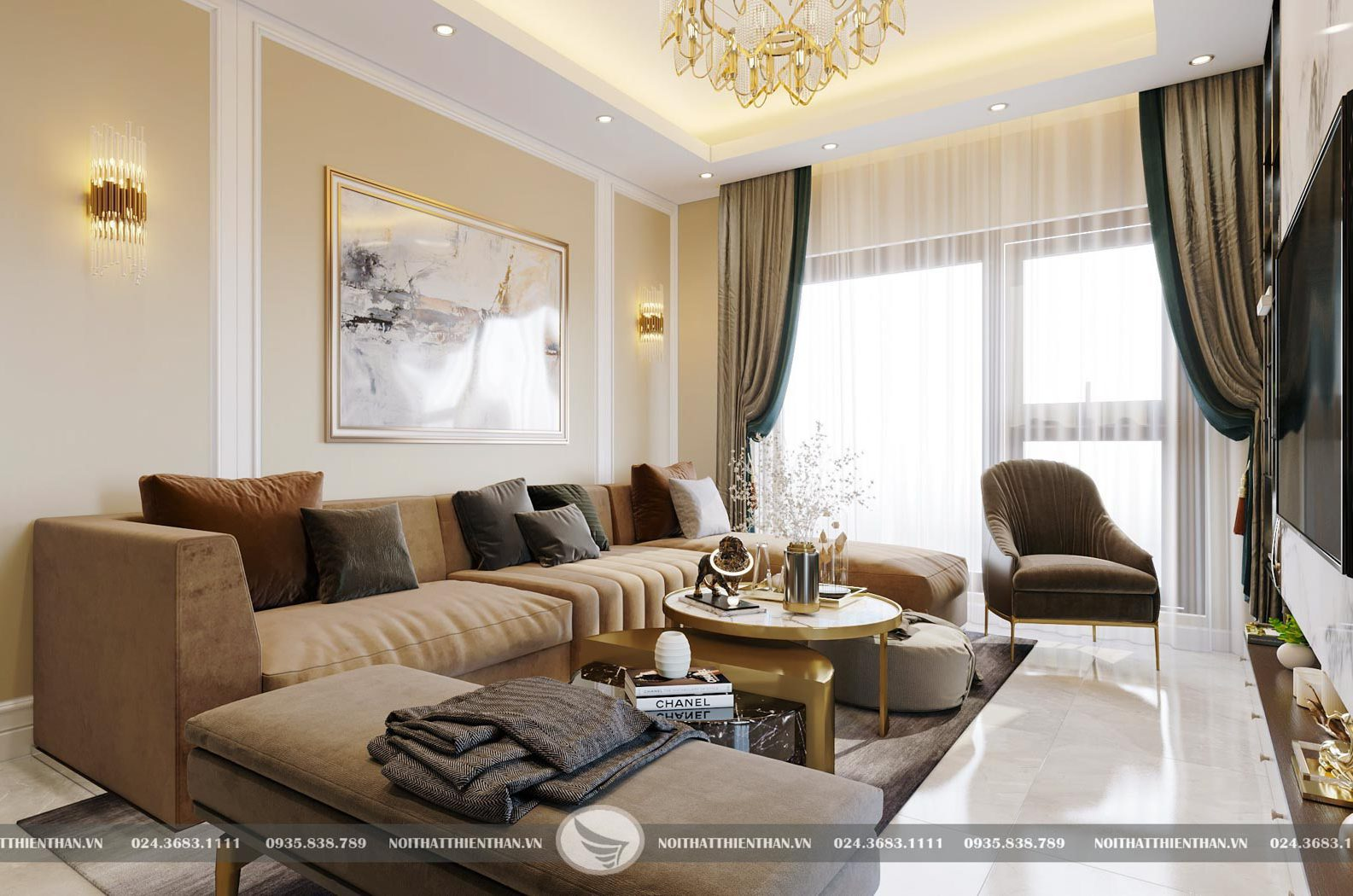 thiết kế nội thất căn hộ chung cư cao cấp 3 phòng ngủ